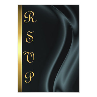 Marquis Black Silk Gold RSVP Card