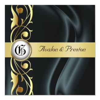 """Marquis Black Silk Gold Scroll Pearl Invitation 5.25"""" Square Invitation Card"""