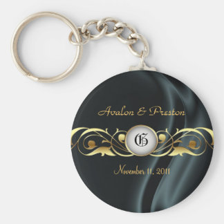 Marquis Black Silk Gold Scroll Pearl Keychain