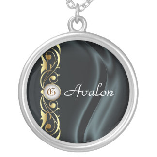 Marquis Black Silk Gold Scroll Pearl Necklace