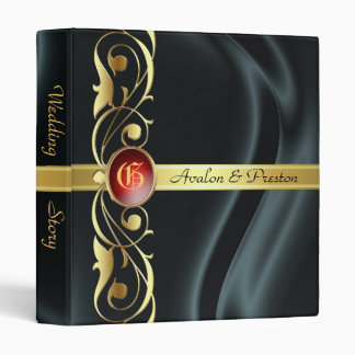Marquis Black Silk Gold Scroll Ruby Album Binder
