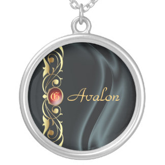 Marquis Black Silk Gold Scroll Ruby Necklace