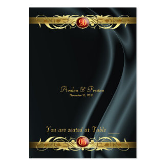 Marquis Black Silk Gold Scroll Ruby Placecard Large Business Card