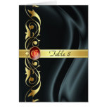 Marquis Black Silk Gold Scroll Ruby Table Card