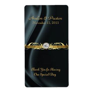 Marquis Black Silk Gold Scroll Wine Wedding Label Shipping Label