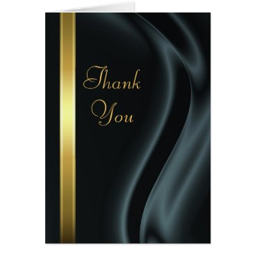 Professional Business Marquis Black Silk Gold Thank You Notecard