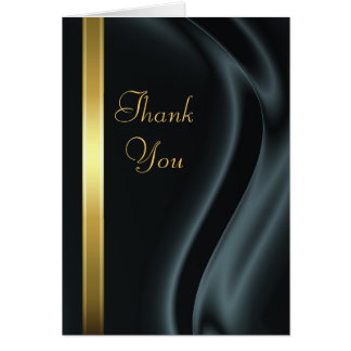 Marquis Black Silk Gold Thank You Notecard Stationery Note Card