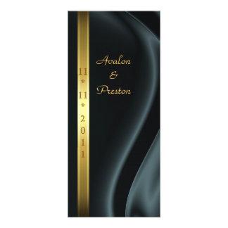 Marquis Black Silk Gold Wedding Program Rack Cards