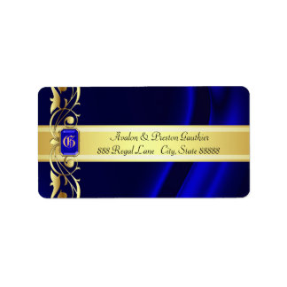 Marquis Blue & Gold Silk Address Labels