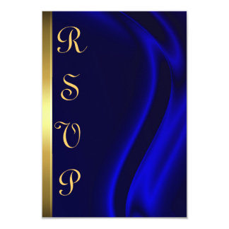 Marquis Blue Silk Gold RSVP Card