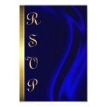 Marquis Blue Silk Gold RSVP Card Custom Invitations