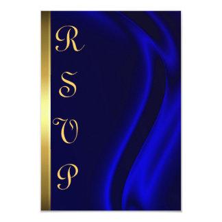 """Marquis Blue Silk Gold RSVP Card 3.5"""" X 5"""" Invitation Card"""