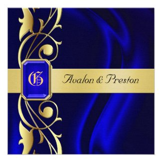 Marquis Blue Silk Gold Scroll Sapphire Invitation