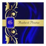 Marquis Blue Silk Gold Scroll Sapphire Invitation
