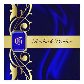 """Marquis Blue Silk Gold Scroll Sapphire Invitation 5.25"""" Square Invitation Card"""