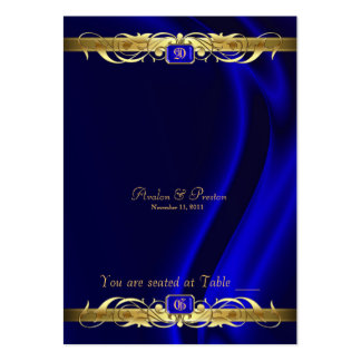 Marquis Blue Silk Gold Scroll Table Placecard Large Business Card