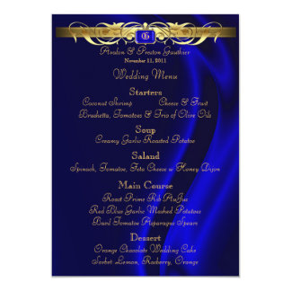Marquis Blue Silk Gold Scroll Wedding Menu Card