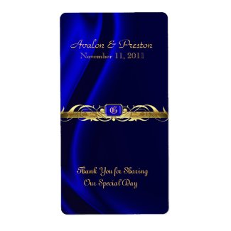 Marquis Blue Silk Gold Scroll Wine Wedding Label