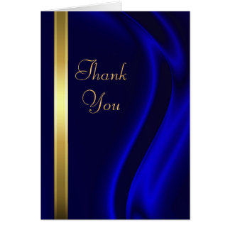 Marquis Blue Silk Gold Thank You Notecard Stationery Note Card