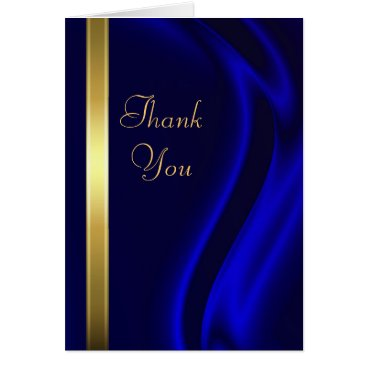 Professional Business Marquis Blue Silk Gold Thank You Notecard