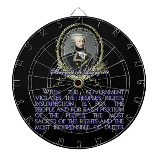 Marquis de Lafayette Quote on Insurrection Dartboard With Darts