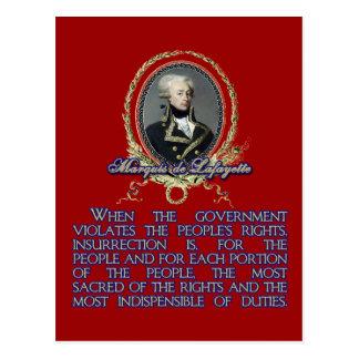 Marquis de Lafayette Quote on Insurrection Post Cards