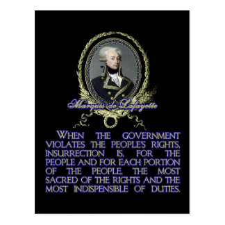 Marquis de Lafayette Quote on Insurrection Post Card