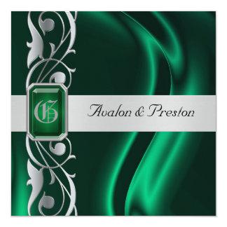 """Marquis Emerald Silk Green Jewel Invitation 5.25"""" Square Invitation Card"""