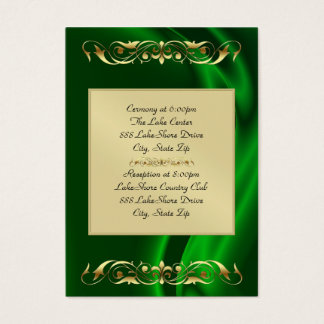 Marquis Green Silk Gold Guest Info Business Card