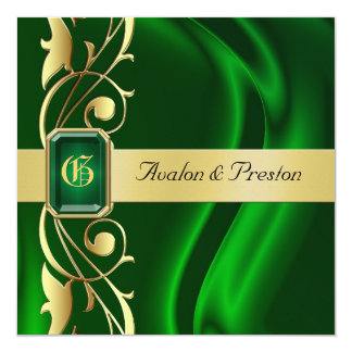 Marquis Green Silk Gold Scroll Emerald Invitation