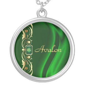 Marquis Green Silk Gold Scroll Necklace