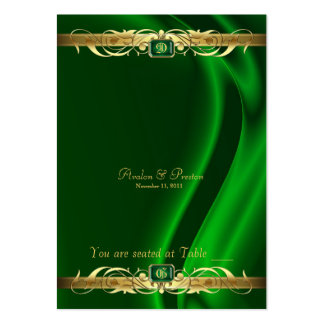 Marquis Green Silk Gold Scroll Table Placecard Large Business Card