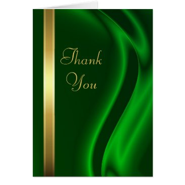 Professional Business Marquis Green Silk Gold Thank You Notecard
