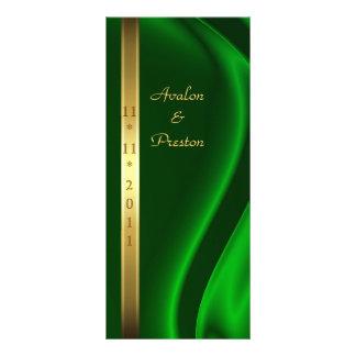 Marquis Green Silk Gold Wedding Program