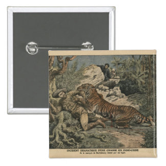 Marquis of Barthelemy wounded by a tiger 2 Inch Square Button