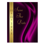 Marquis Pink Silk Gold Save The Date Postcard