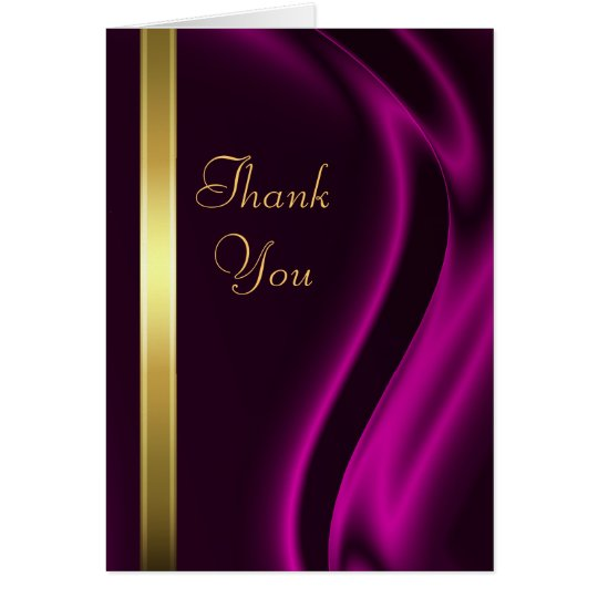 Marquis Pink Silk Gold Thank You Notecard