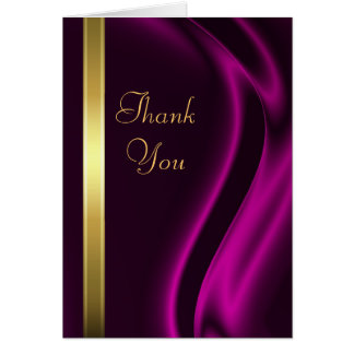 Marquis Pink Silk Gold Thank You Notecard Stationery Note Card