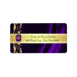 Marquis Purple & Gold Silk Address Labels