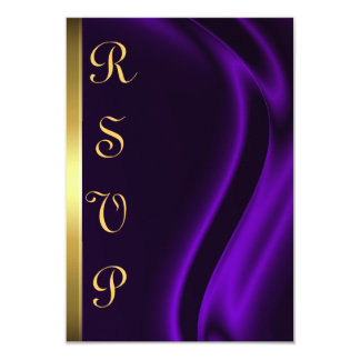 Marquis Purple Silk Gold RSVP Card