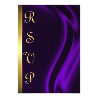 "Marquis Purple Silk Gold RSVP Card 3.5"" X 5"" Invitation Card"