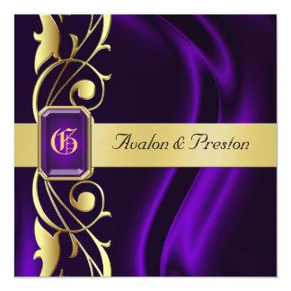 """Marquis Purple Silk Gold Scroll Jewel Invitation 5.25"""" Square Invitation Card"""