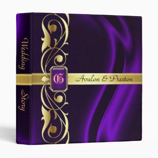 Marquis Purple Silk Gold Scroll Pearl Album Binder