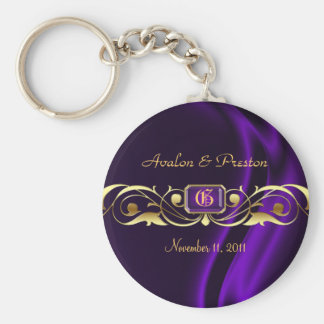 Marquis Purple Silk Gold Scroll Pearl Keychain