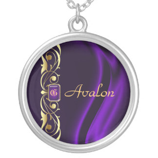 Marquis Purple Silk Gold Scroll Pearl Necklace