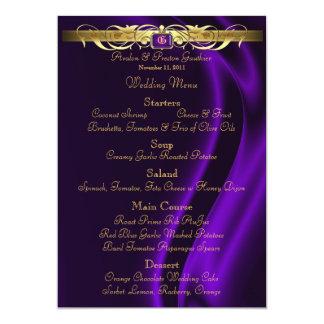 Marquis Purple Silk Gold Scroll Wedding Menu 5x7 Paper Invitation Card