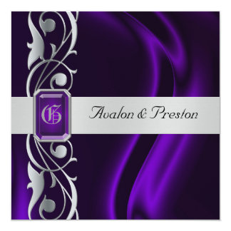 """Marquis Purple Silk Silver Scroll Pearl Invitation 5.25"""" Square Invitation Card"""