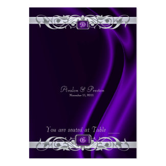 Marquis Purple Silk Silver Scroll Table Placecard Large Business Card