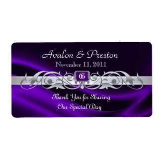 Marquis Purple Silk Silver Wine Wedding Label Shipping Label
