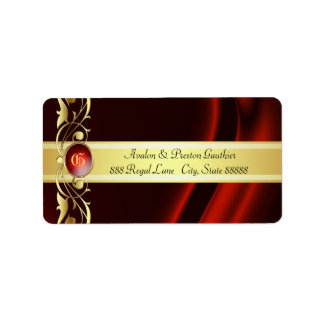 Marquis Red & Gold Silk Address Labels